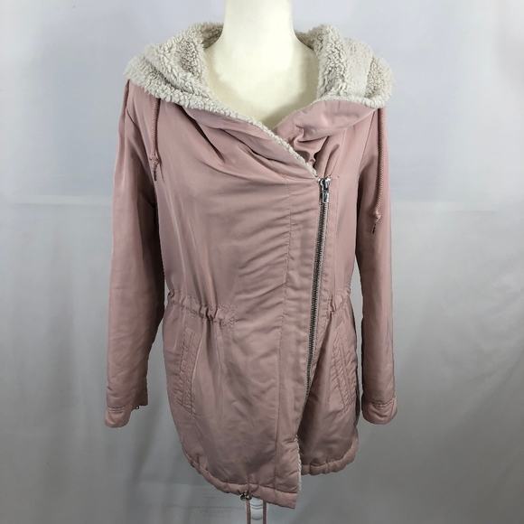 Forever 21 Jackets & Blazers - Forever 21 Hooded Pink Faux-Sherpa Lined Coat Sz M
